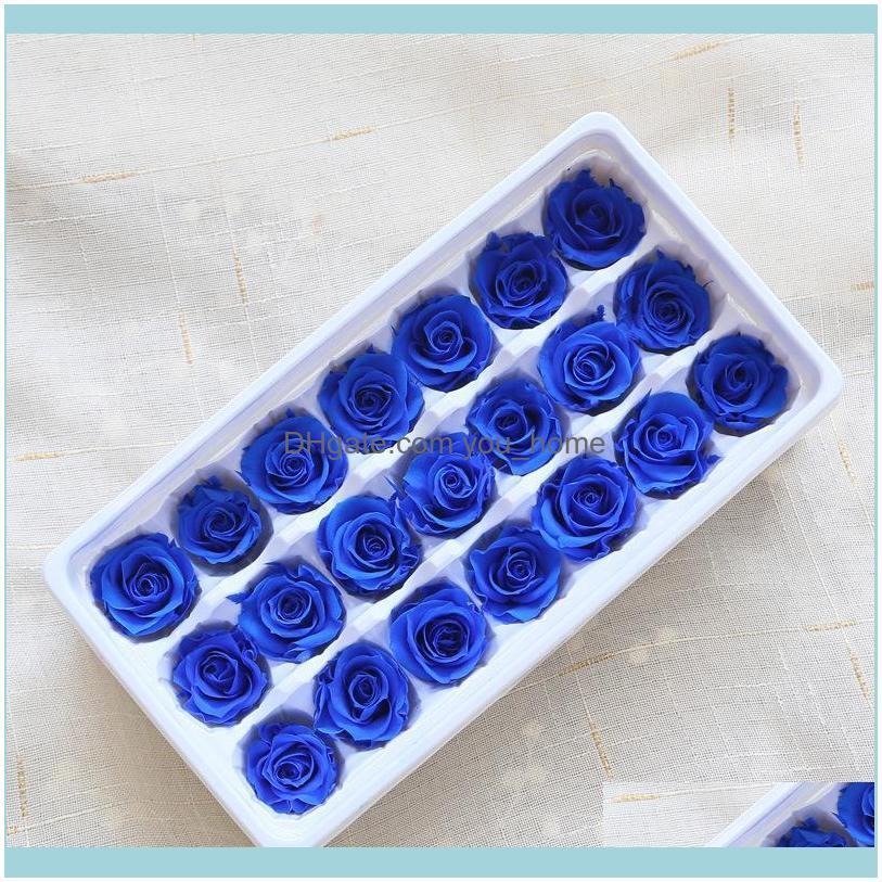 21pcs/box Preserved Flowers Natural Immortal Rose 2-3CM DIY Romantic Wedding Birthday Valentine Mothers Day Gift For Her Level B