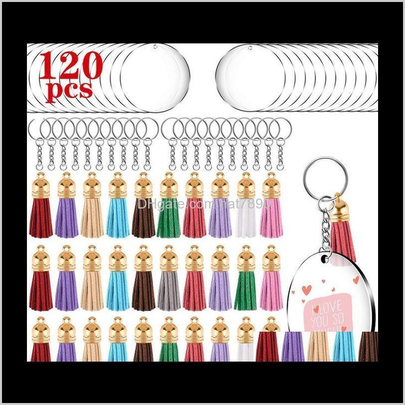 Kimter 120pcs Acrylic Transparent Circle Discs Keychain Blank Colorful Tassel Keyrings for DIY Projects Craft Gift Free DHL