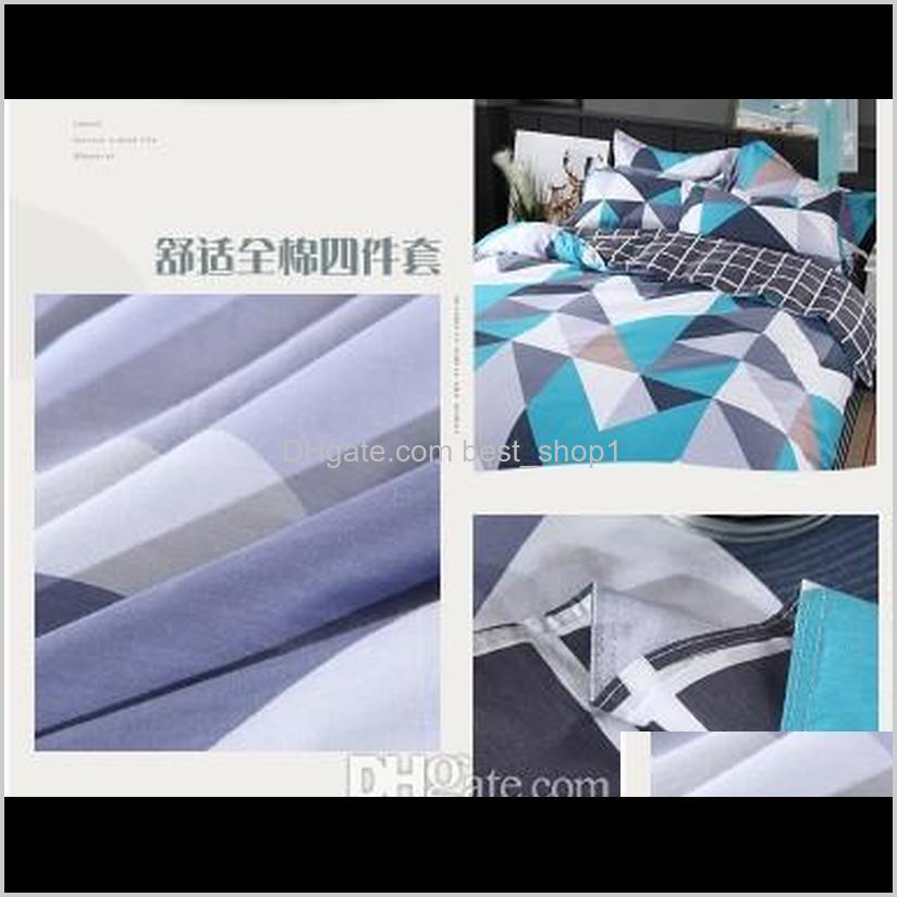 wholesale- 100% cotton modern geometric bedding set 4 pcs 36s home sateen cotton 200tc duvet cover pillow cover bed set queen king