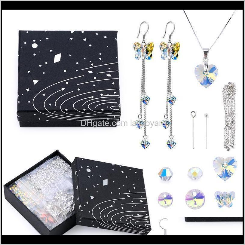 a set jewelry making kit glass beads crystal pendant jewelry making tools earring necklace findings diy handmade craft supplies wmtfod