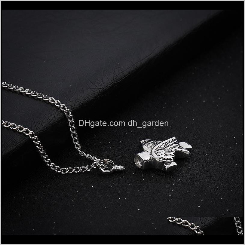 angle wings cross cremation jewelry silver cremation urn necklace pendant memorial keepsake necklace locket jewelry