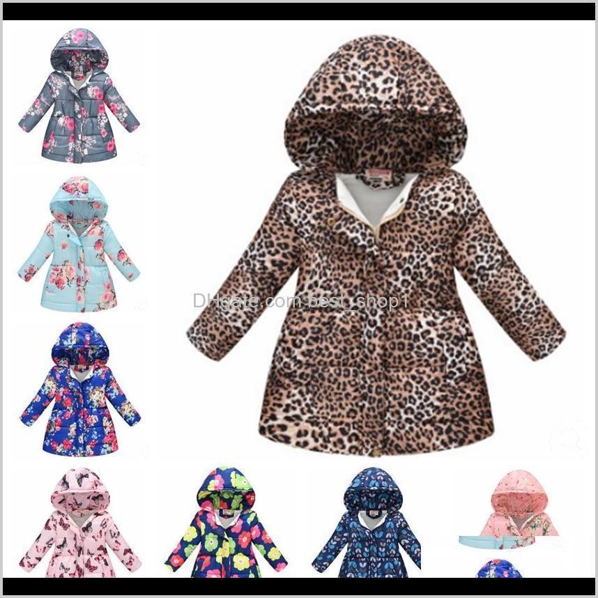 kids girl coat floral girls cotton jackets leopard children hooded coat winter warm girls outwear designer kids clothing 13 designs