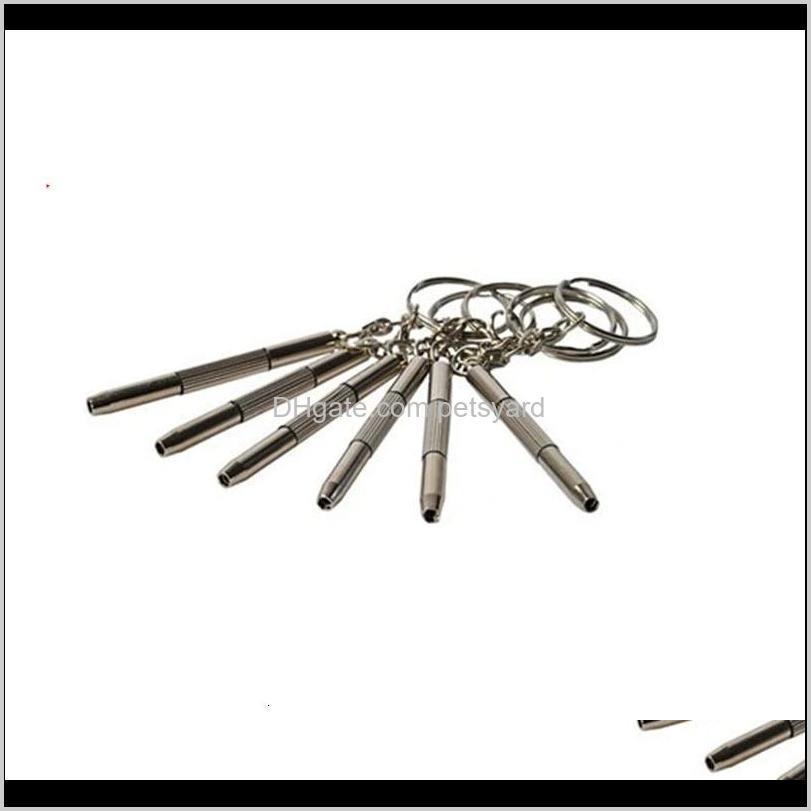mini metal keys chain repair spectacle frame mobile phone watch tool buckle screwdrivers key ring 3 in 1 function m2