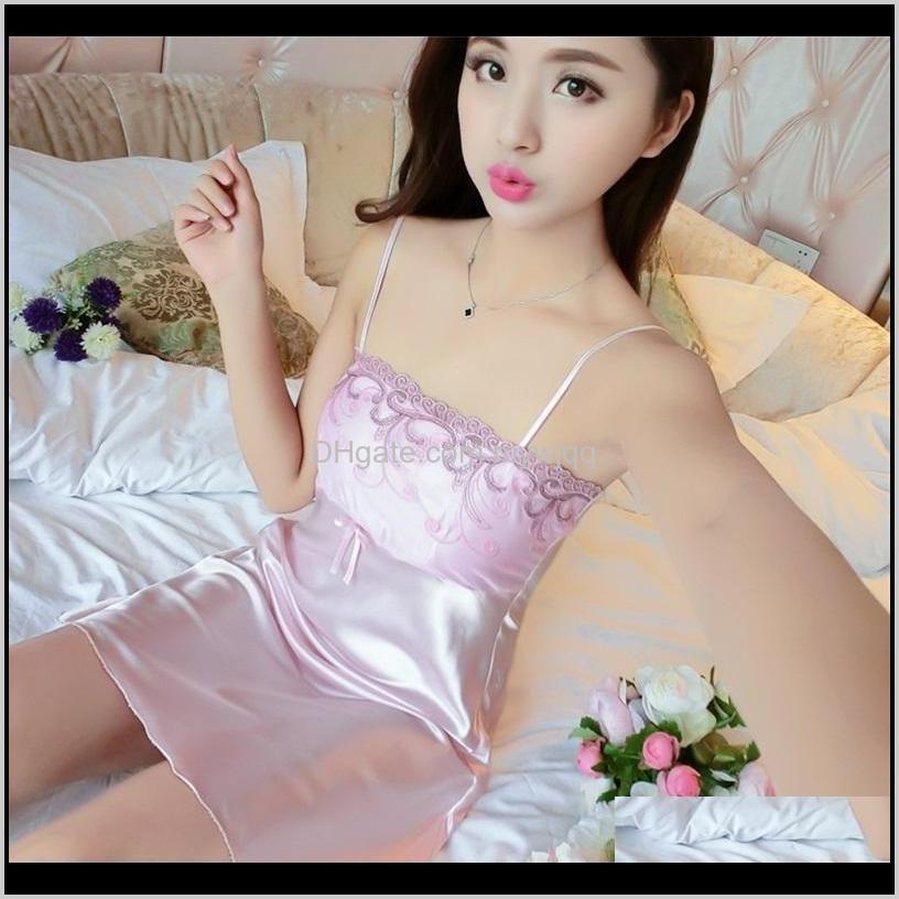 lace bow lady sleepwear dress sexy v neck summer sleeveless sleepshirts silk solid color square collar homewear women 15yl g2
