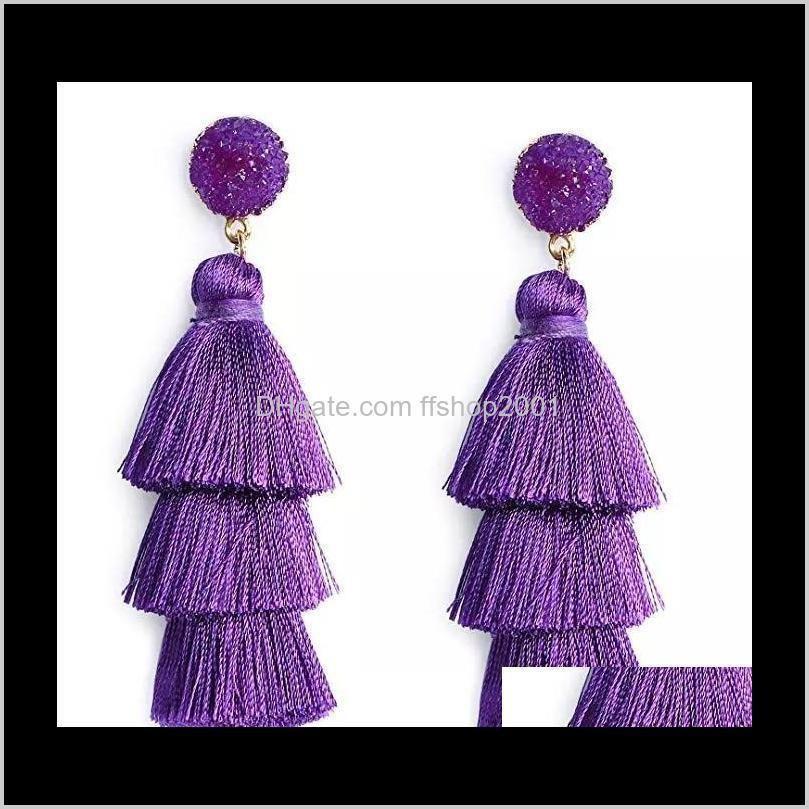 bohemian druzy layered tassel earrings stud statement big dangle drop earrings for women fashion jewelry gift will and sandy new