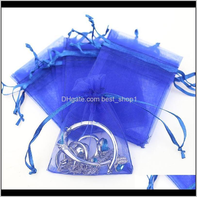 100pcs/lot organza bags jewelry packaging bags wedding party decoration drawable bags 7*9 cm gift pouches