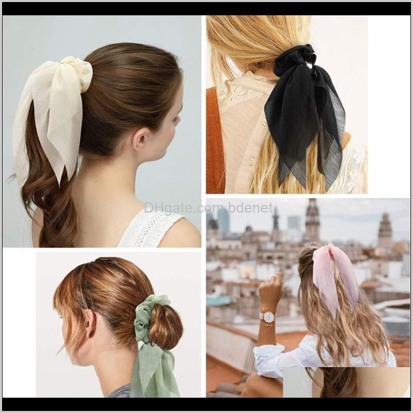 solid chiffon scrunchies for women elastic hair bands streamers bow hair scarf rope ties fashion accessories