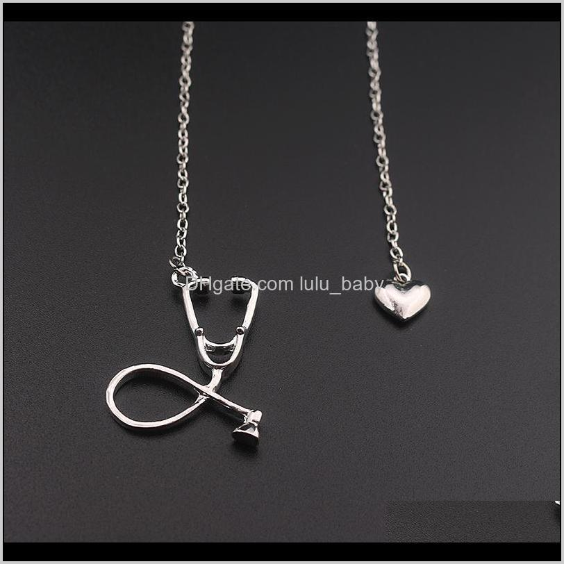 stethoscope necklace lariat heart pendant necklace 3 colors rose gold/gold/silver newest nurse medical necklace