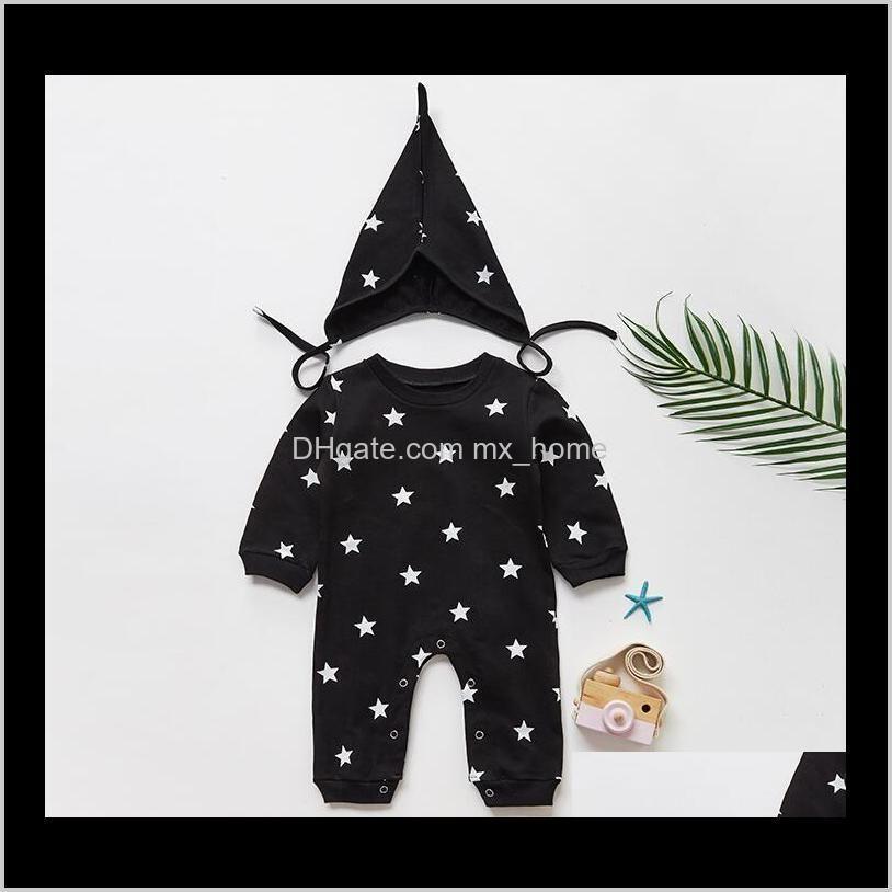 2020 new baby girls boys romper cotton soft black white stars print hat +romper 2pcs set infant 2pcs clothing set outfit