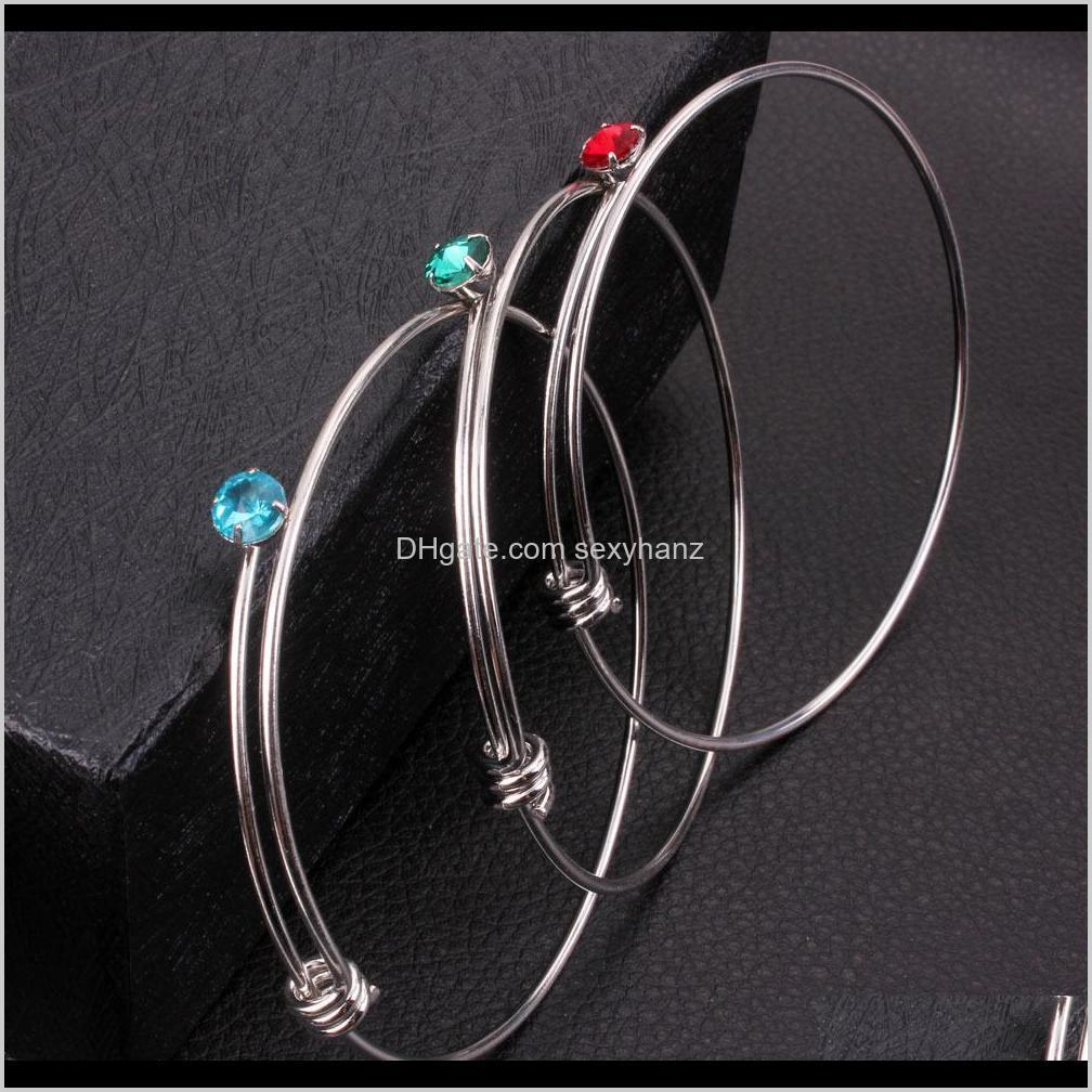 12 month crystal birthstone bracelet silver birithday stone bangle cuffs for women kids gift will and sandy drop shipping