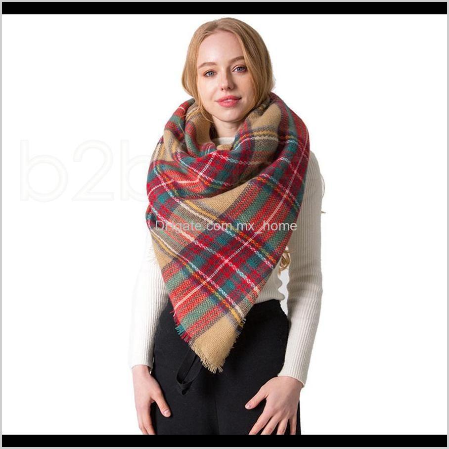 winter triangle scarf tartan cashmere scarf women plaid blanket scarf new designer acrylic basic shawls women`s scarves wraps gifts