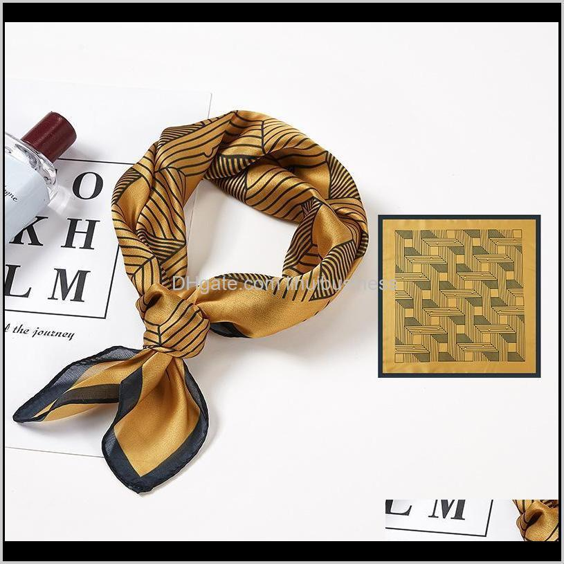 silk scarf for women print hair neck square scarves office ladies bandanna 53*53cm muslim hijab handkerchief muffler foulard