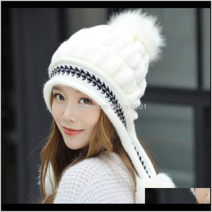 2020 winter hat`s for women knitted wool beanies warm and thickened fashion cap solid color with black stripped big poms bucket