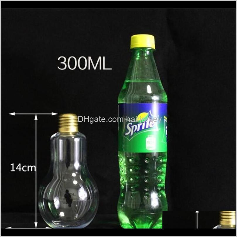 new led light bulb water bottle plastic milk juice water bottle disposable leak-proof drink cup with lid creative drinkware nha4827
