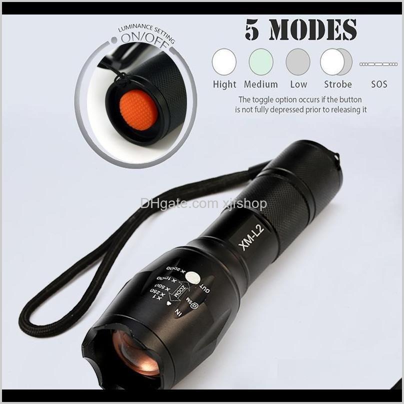 led flashlight outdoor flashlight 8000 lumens cree xm-l2 zoomable 5 modes aluminum lanterna led torch flashlights for camping