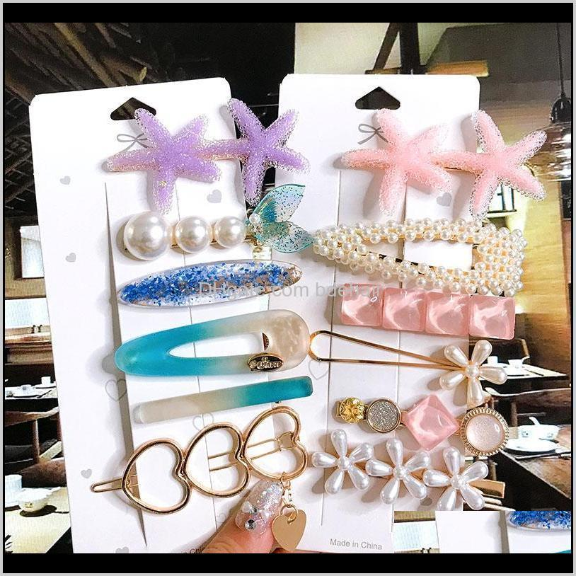 women barrette set fashion acrylic simulation pearl big starfish hair clips for girls hair accessories geometric hairpin jewelry