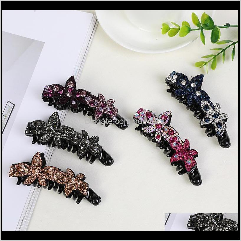 2018 korean headwear simple banana hair clips for girl cute rhinestone hair pins for women fashion full diamond accessories