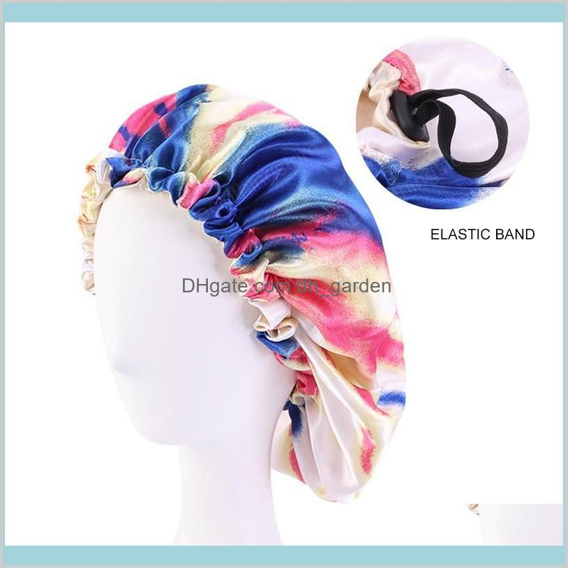 new tie-dyed satin bonnet adjust hair styling caps print large double layer silky sleep cover cap night hat hair styling tools