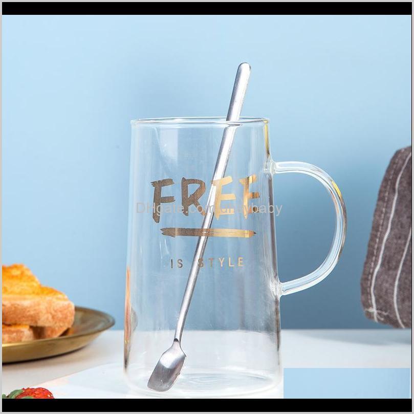 golden letter glass cup home high boron silicon cups creative juice milk breakfast coffee mug mugs