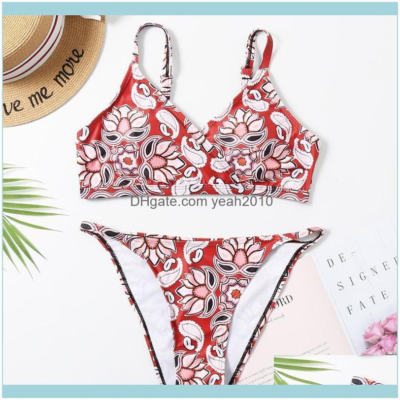 Summer Print Solid Beach Swimsuit Swimsuits For Women Sexy Halter Backless Swimwear Thong Female Bikini Two-piece Suits
