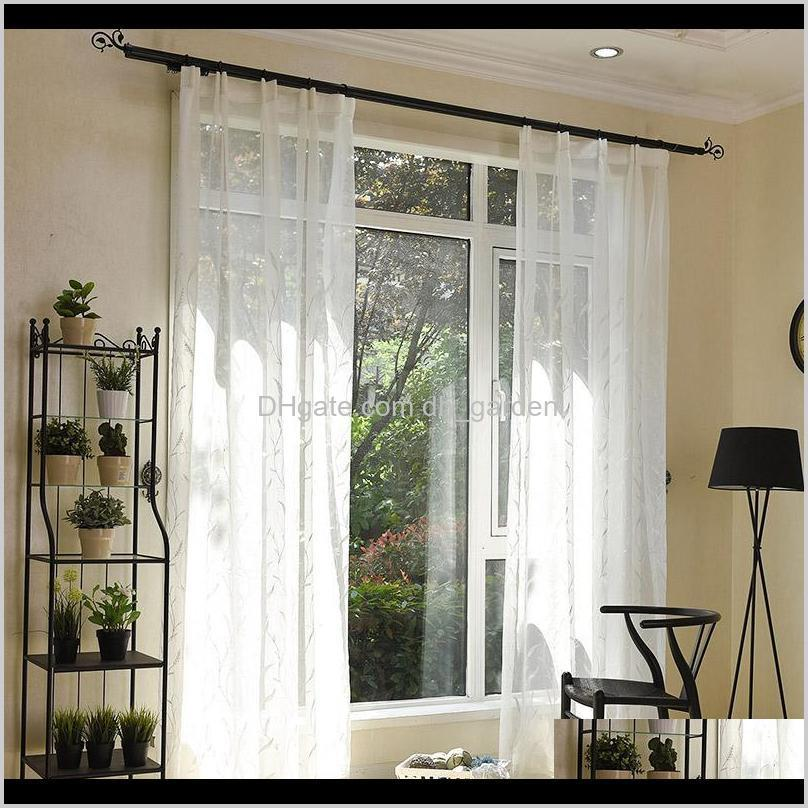 pastoral style reed shape embroidery white fabric drapes for living room bedroom tulle sheer voile decorative window treatment curtain