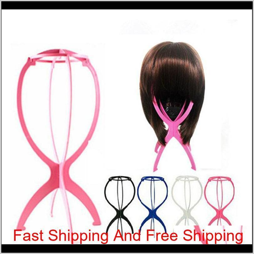 wig stand rosy black blue and white color portable folding plastic wig hat holder hair display tool 260pcs