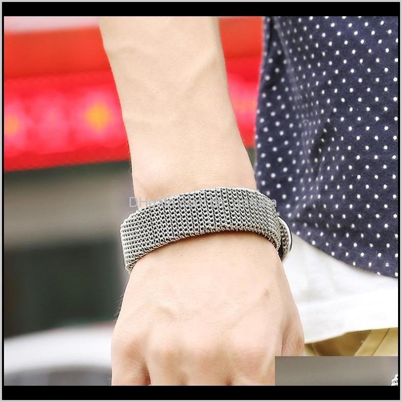 new fashion alloy net coated brown leather bracelet punk style men`s cowhide leather wristband with pin buckle men jewelry accessorie