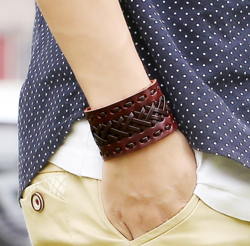 Charm Bracelets Jewelry Arrival Genuine Bracelet Wristband Mens Wide Leather With Snap Button For Men Women Jewelry Gifts