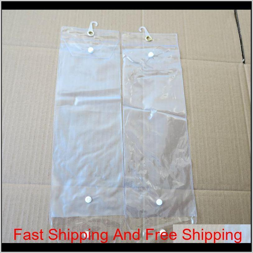 pvc plastic package bags packing bags with pothhook 12-26inch for packing hair wefts human hair extensions button closure