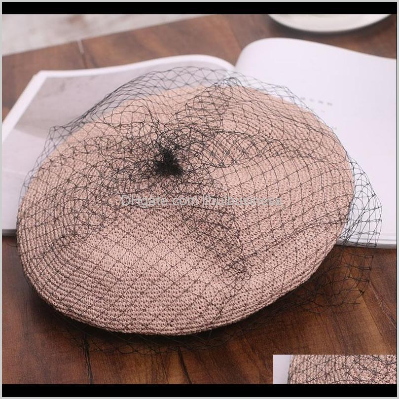 2020 new arrive elegant retro mesh beilei straw hat women`s fashion straw woven hat spring and summer travel versatile painter`s1