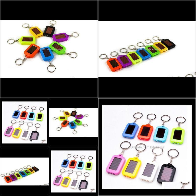 2018 keychain oppohere portable outdoor solar power 3 led light keychain keyring torch flashlight lamps