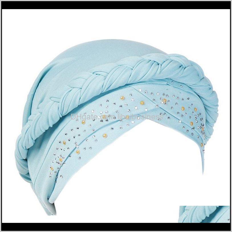women muslim braid turban cap rhinestone chemo head wrap hair loss beanie hat1
