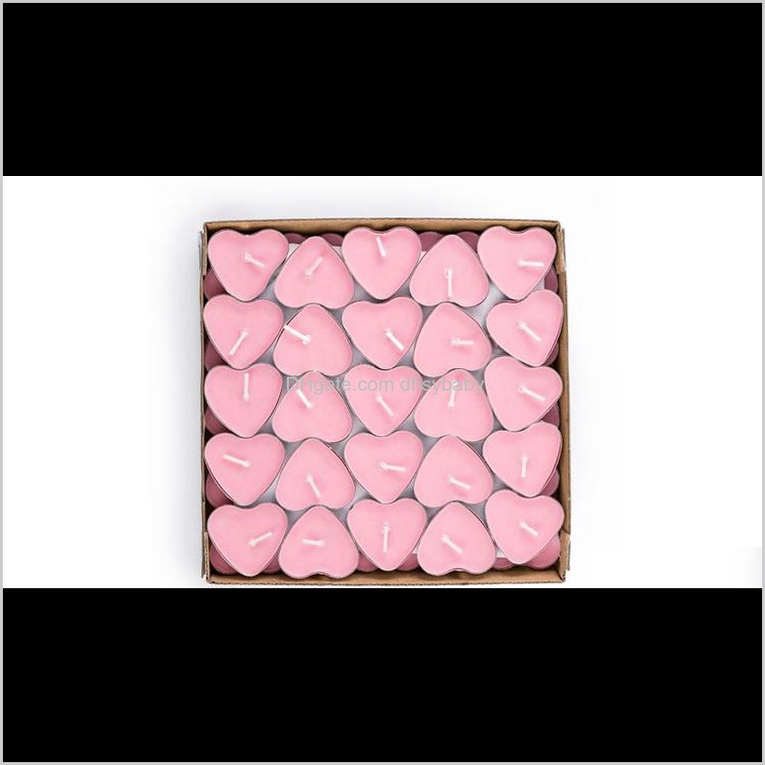 heart-shaped ghee candle 2 hours butter candles 6 colors 50pcs/set tea light candles non-smoking votive candle
