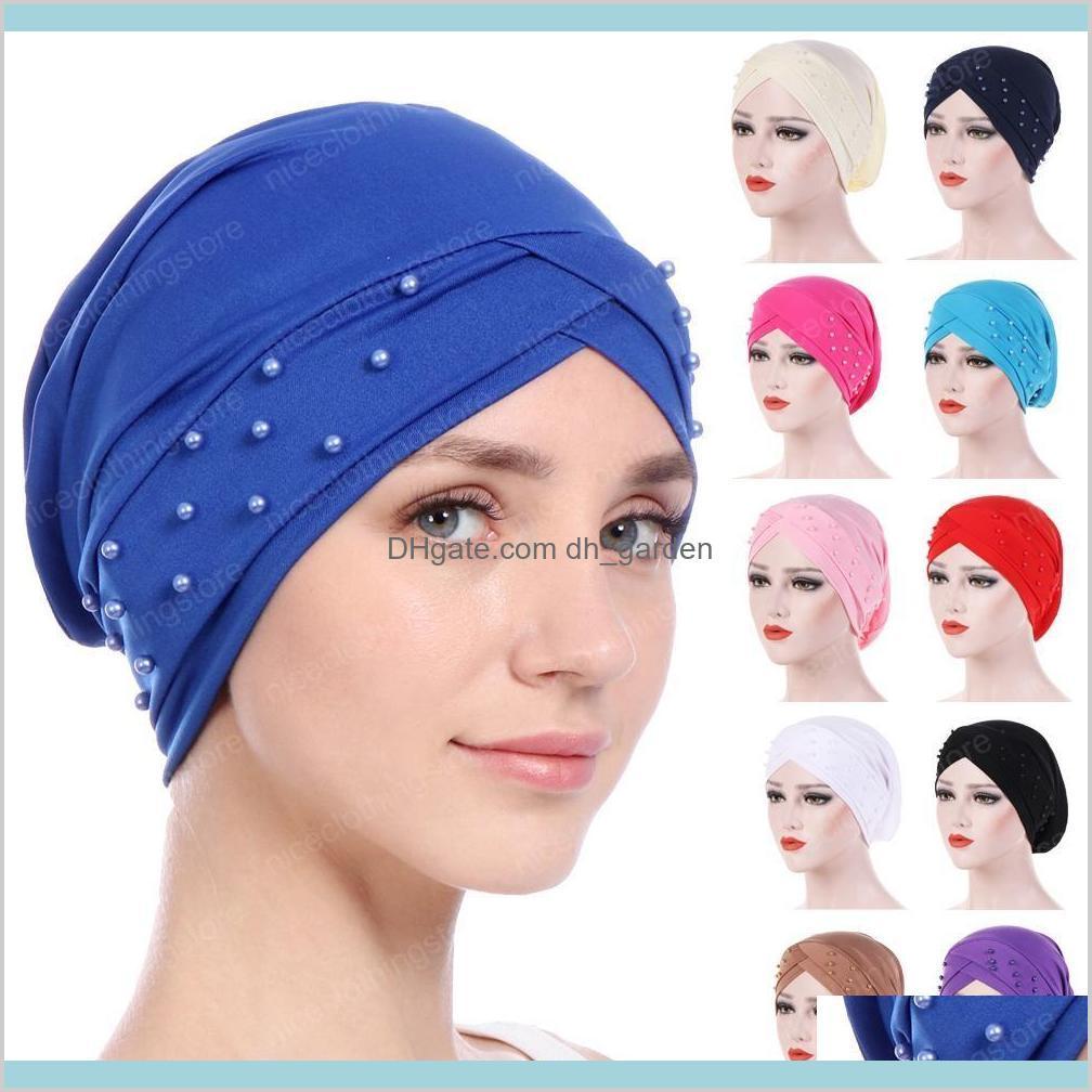 women beads elastic turban hat muslim chemo cap arab hair loss head scarf wrap cover skullies beanies random color