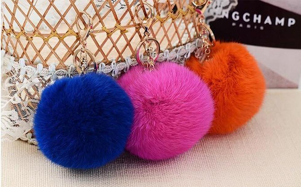 8cm big real rabbit fur pompom keychain key chain fur ball keychains for women bag charm fur pom pom bag accessories wholesale
