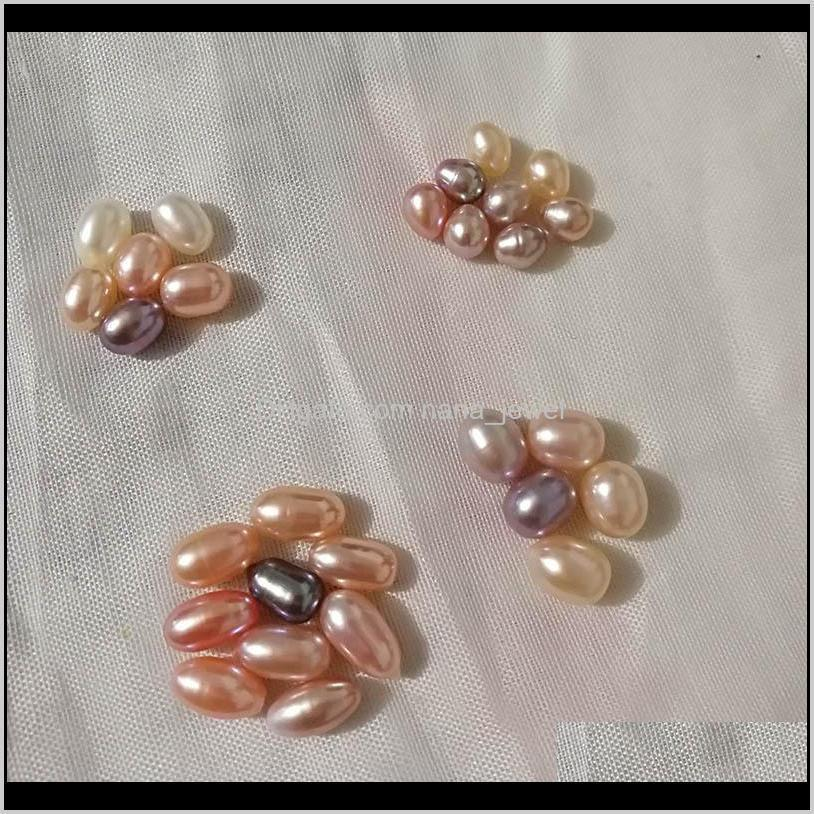natural freshwater pearls oyster no hole 5-6mm bright rice-shaped loose pearls real pearl different color fashion jewelry wholesale