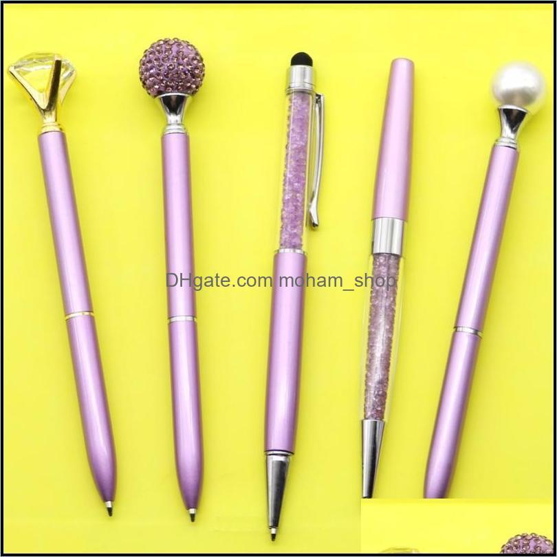 Ballpoint Pens 5pcs/set Purple Diamond Crystal Pen Black Refill Creative Writing Tools Student School Supplies