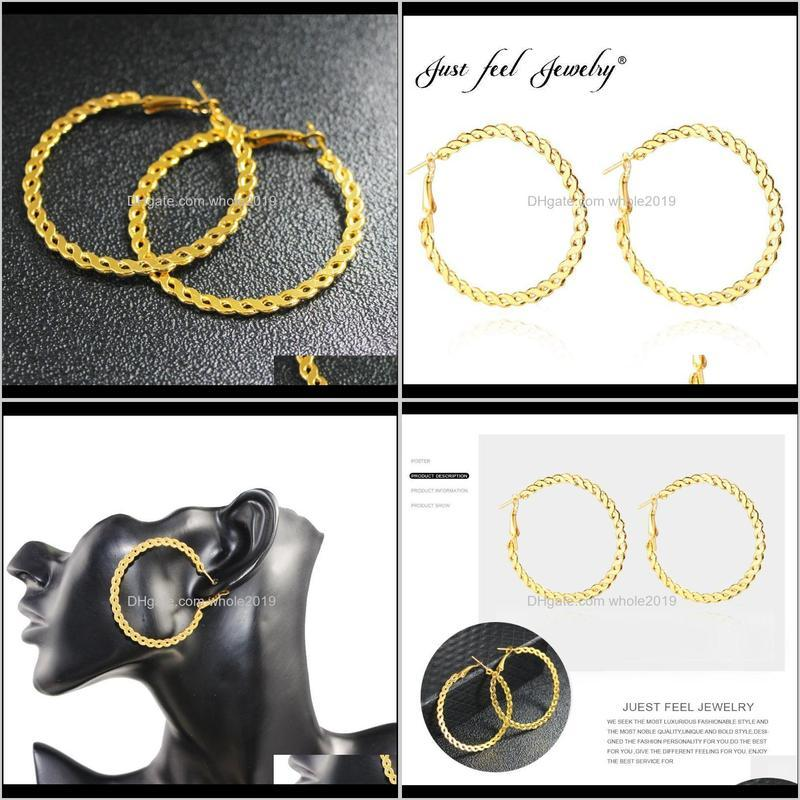 just feel 5.5cm africa round earrings for women gold color twisted earrings arab/dubai/india/ethiopian charm jewelry wholesale