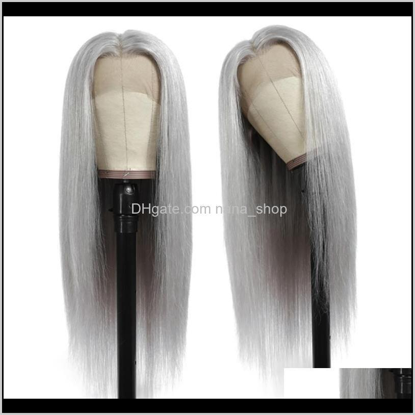 grey straight lace closure wig brazilian remy hair lace front human hair wigs with transparent pre plucked wig