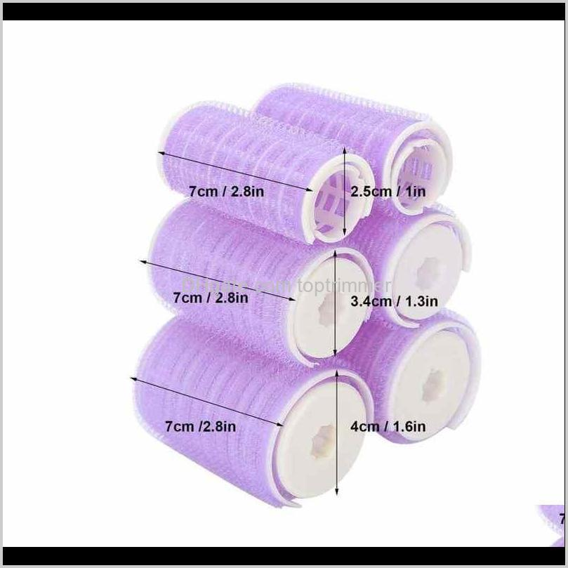6pcs/lot 3 size hair rollers set hairdressing diy magic self-adhesive hair rollers styling roller roll curler beauty tool