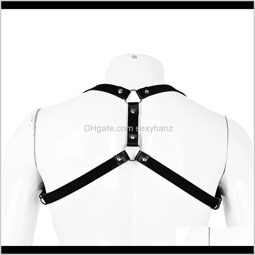 newest men lingerie imitation leather shoulder harness belt punk costume straps body chest harness bondage costume tights zentai
