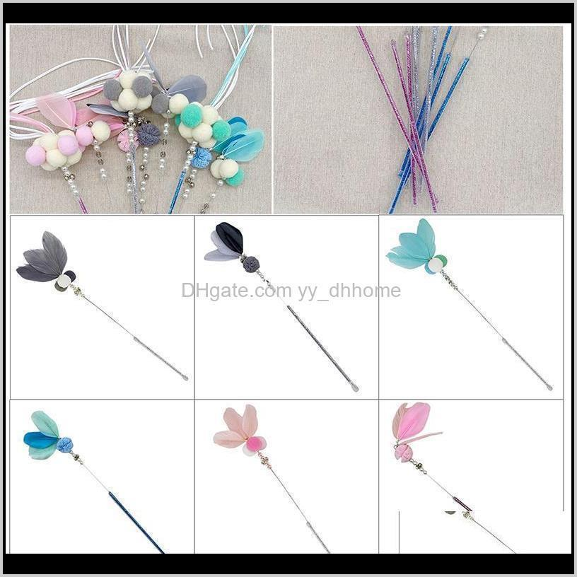 cat wand toy interactive funny bells fake feathers pet stick teaser training toys accessories