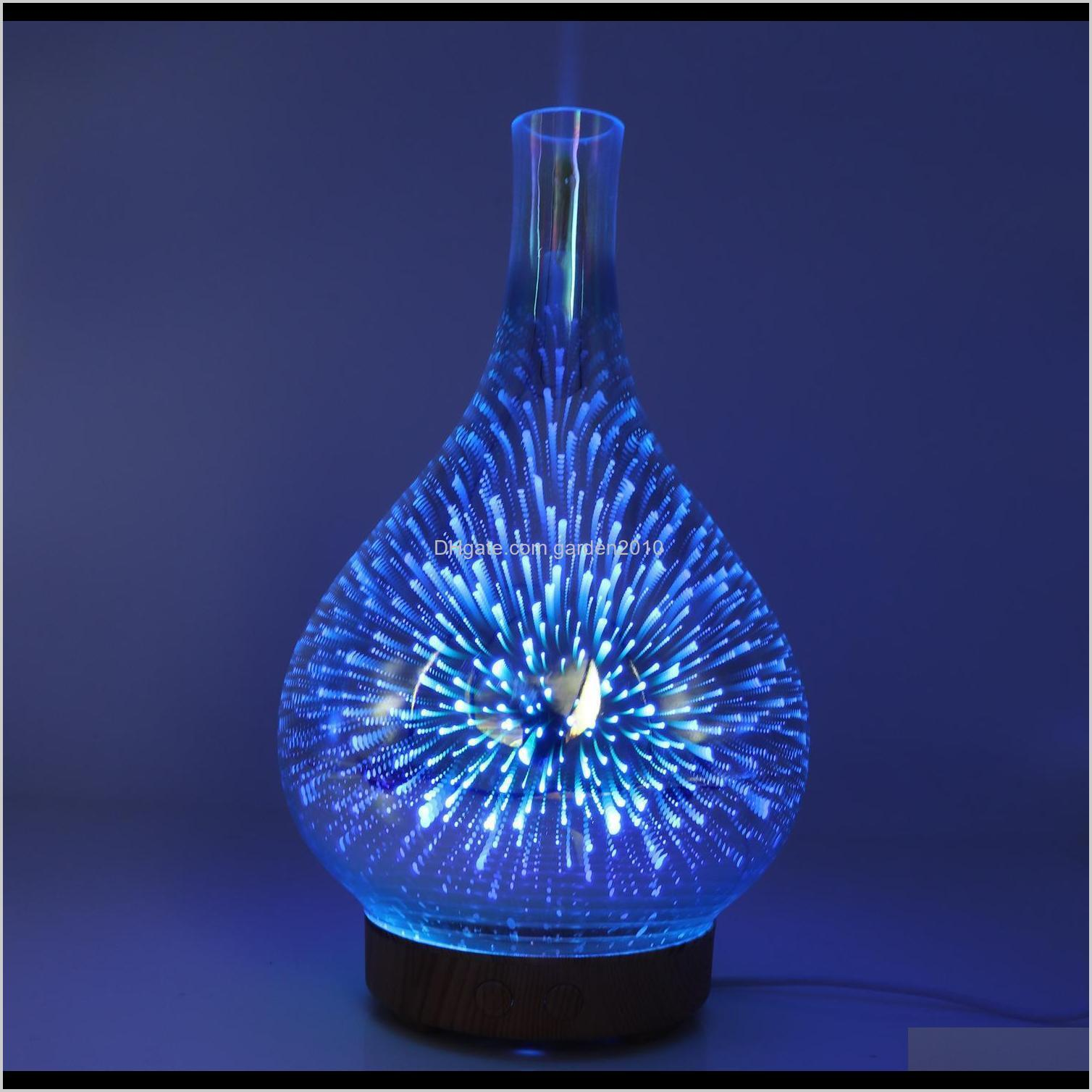 fragrance lamps 3d fireworks glass humidifier led colorful night light aromatherapy machine essential oil diffuser by sea ship gga3654