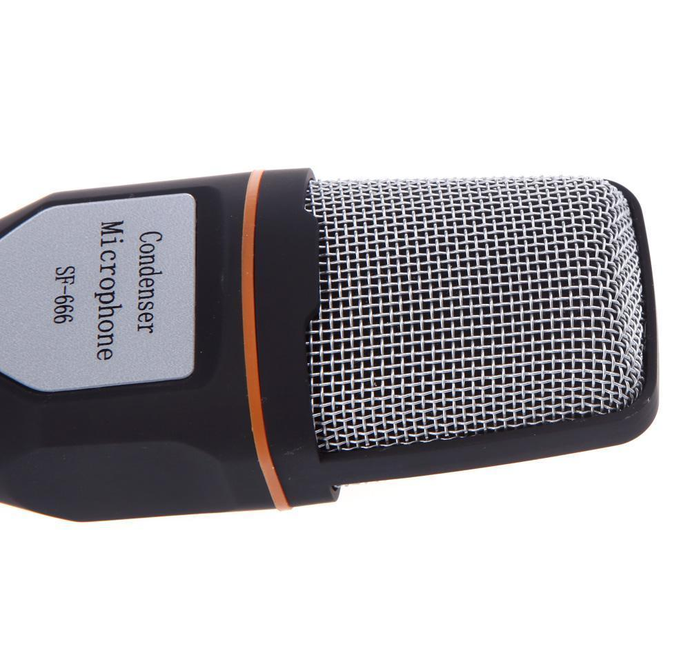 3.5mm audio wired stereo condenser sf-666 microphone with holder stand clip for pc chatting singing karaoke laptop wholesale with