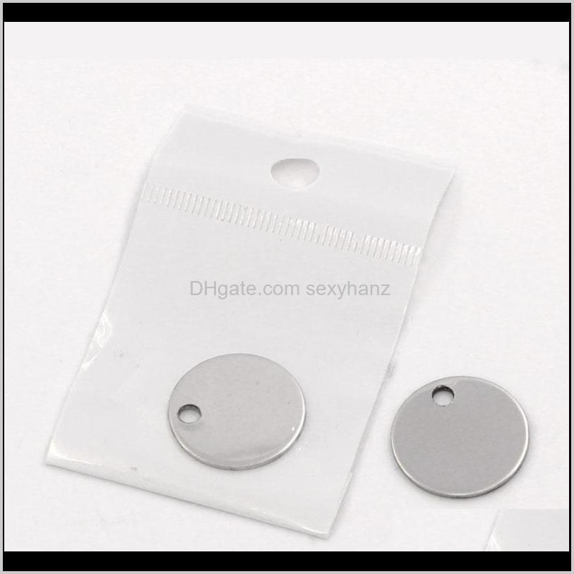 round stainless steel pendant stamping blank dog tags pendants charm necklace diy jewelry with package 100pcs 20mm