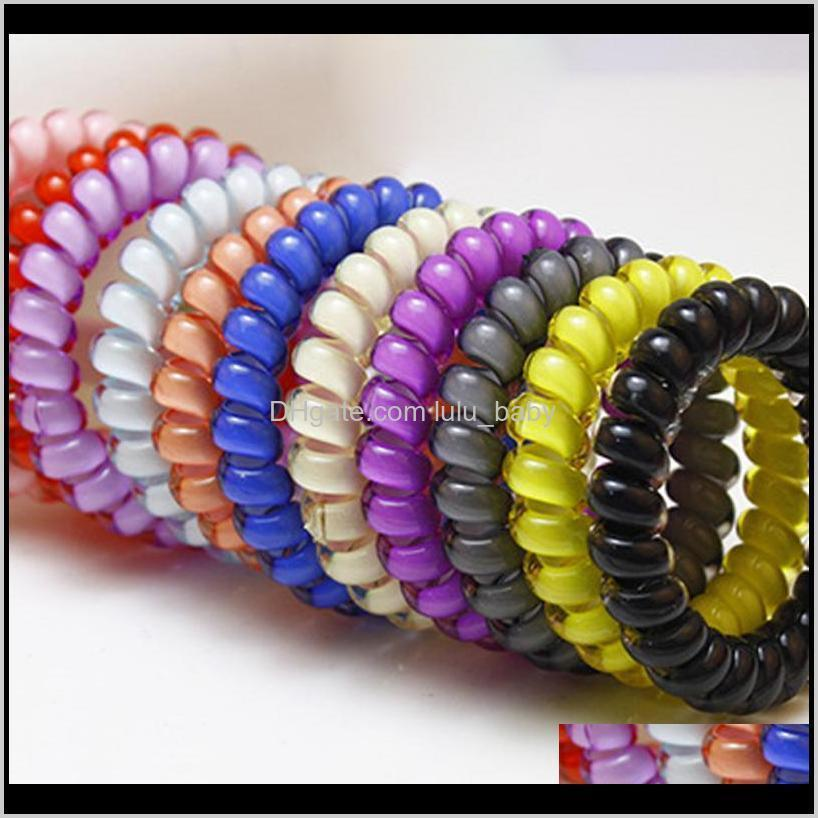 candy color telephone wire line elasticity rubber band elastic hairbands hair rope for gils scrunchy headbands gum spring