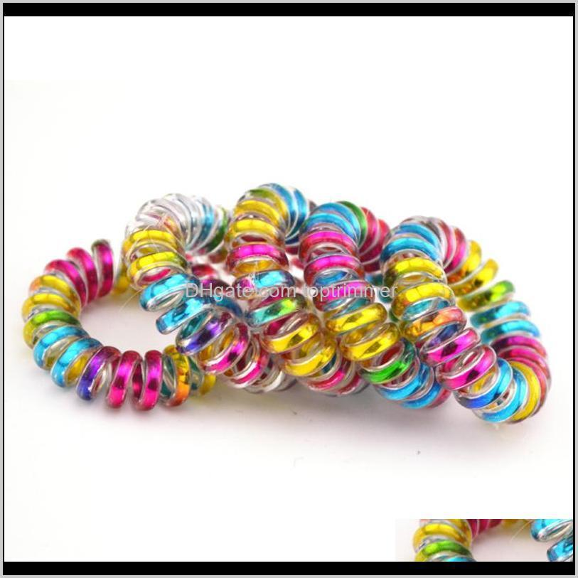 wholesale 100pcs /lot colorful telephone wire cord line gum holder elastic hair band tie scrunchy 3 .5cm children hair accessory