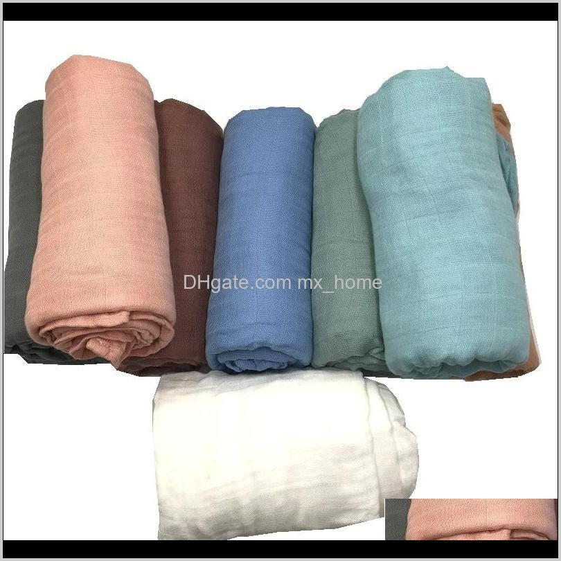 solid color active printing very soft 70% bamboo fiber 30% cotton muslin baby blanket blankets swaddle for newborn bedding 201128