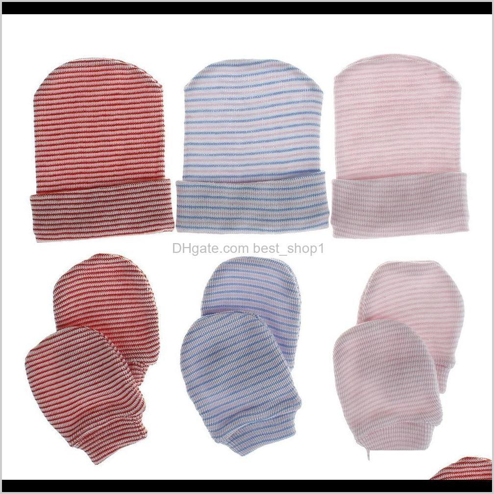 8 colors baby kids boys girls beanies with gloves 3pieces set stripe blank knitted unisex winter caps gloves hats for 0-3m