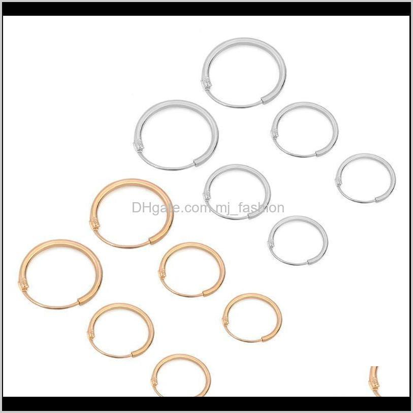 3 pairs 3 sizes minimalism simple round circle earrings hoop earrings small ear studs for women girls fashion jewelry